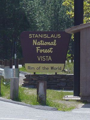 Sign in Stanislaus National Forest, California...