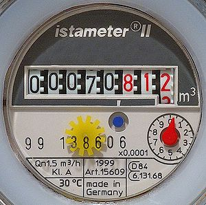 This image shows a detail of a Water meter.