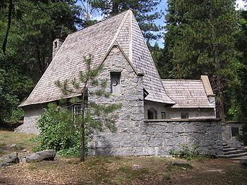 Exterior of the LeConte Memorial Lodge in Yosemite National Park, California.